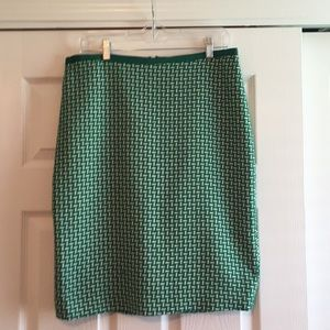 Talbot Green and White Pencil Skirt